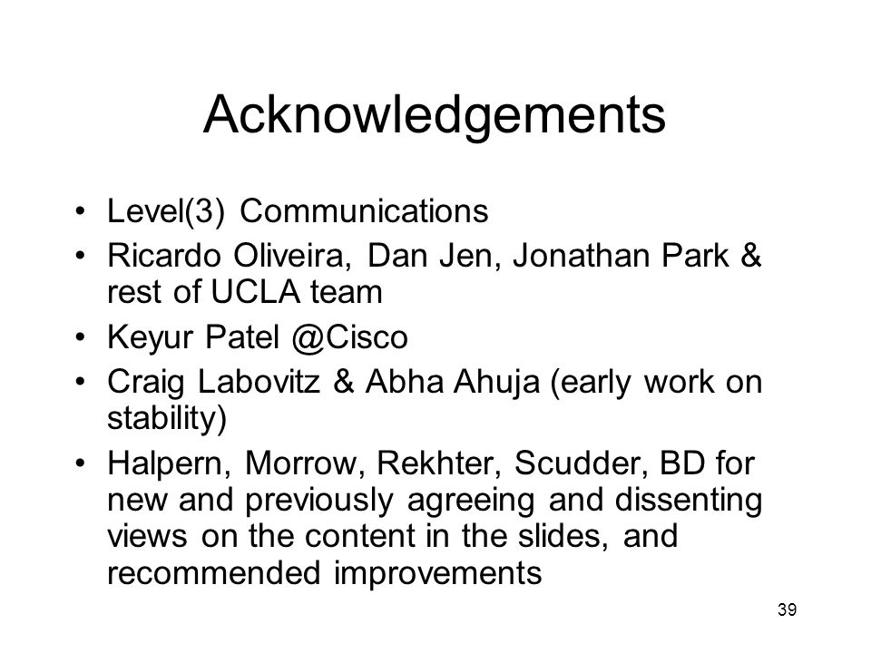 Acknowledgements Level(3) Communications