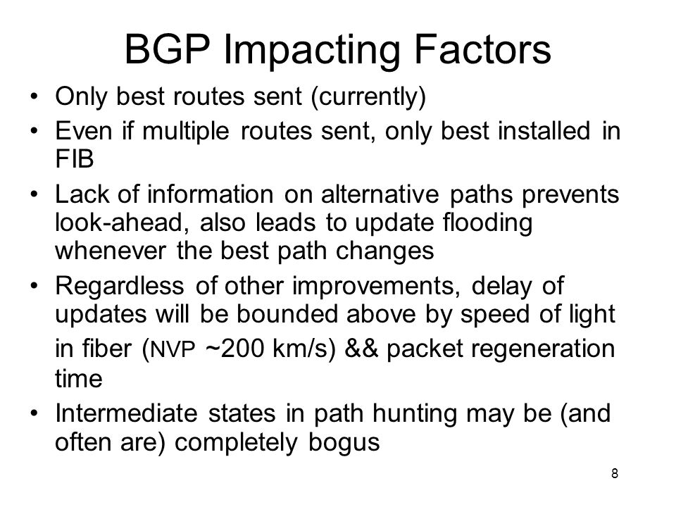 BGP Impacting Factors Only best routes sent (currently)