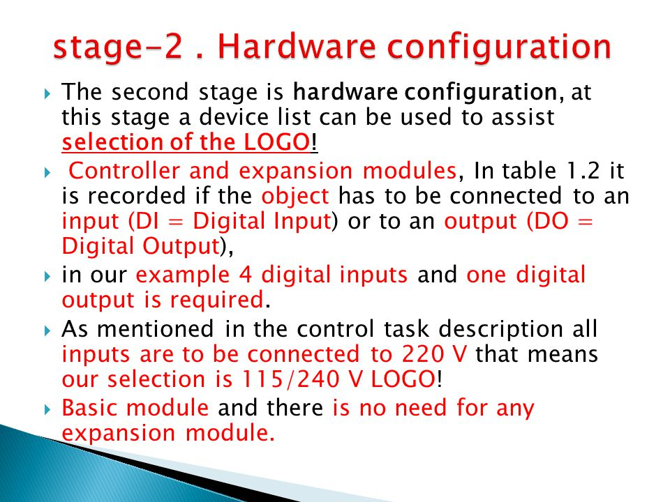 stage-2 . Hardware configuration