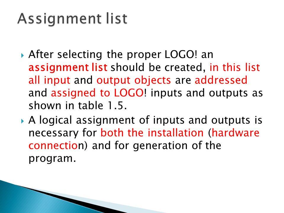 Assignment list