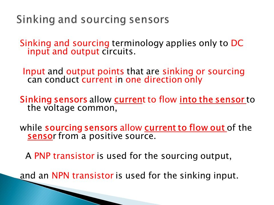 Sinking and sourcing sensors