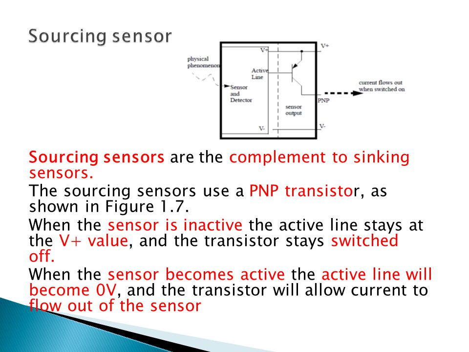 Sourcing sensor Sourcing sensors are the complement to sinking sensors. The sourcing sensors use a PNP transistor, as shown in Figure 1.7.