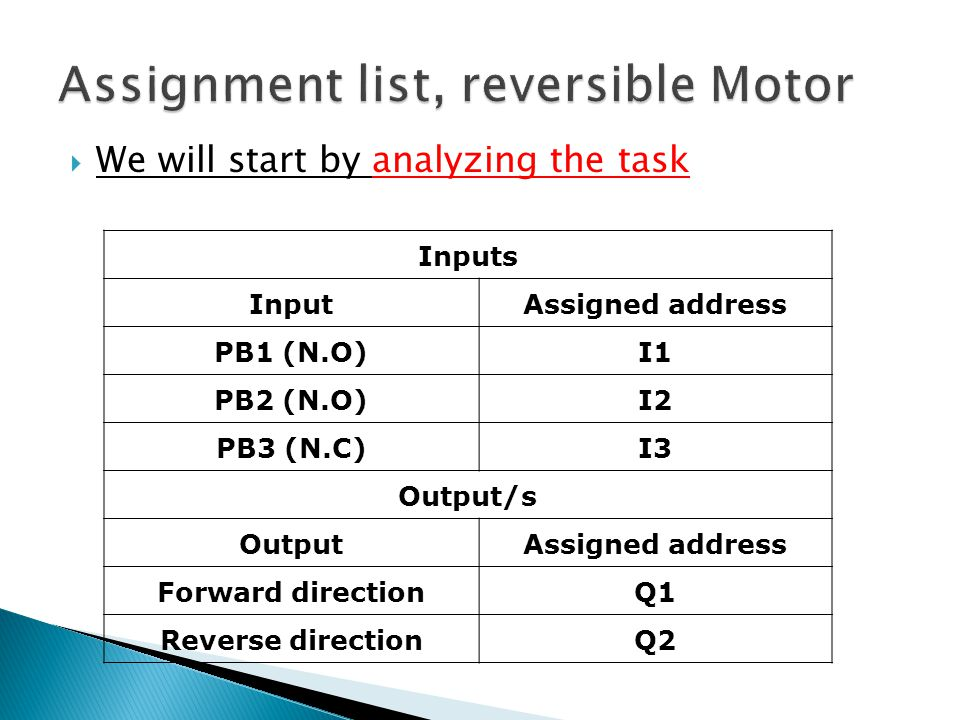 Assignment list, reversible Motor