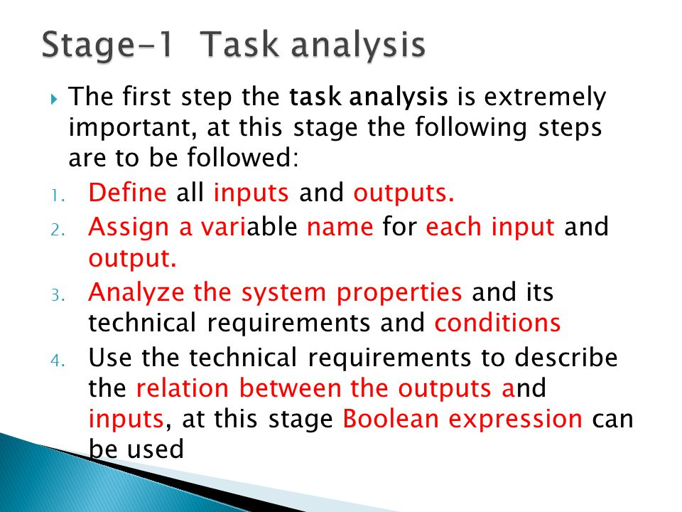 Stage-1 Task analysis The first step the task analysis is extremely important, at this stage the following steps are to be followed: