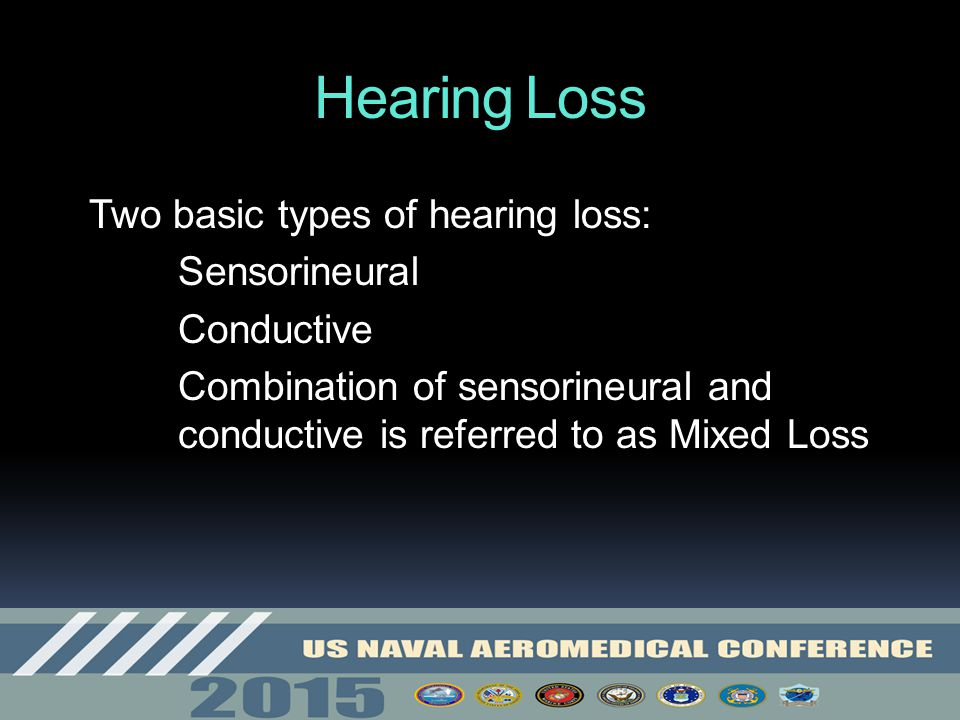 Hearing Loss Two basic types of hearing loss: Sensorineural Conductive