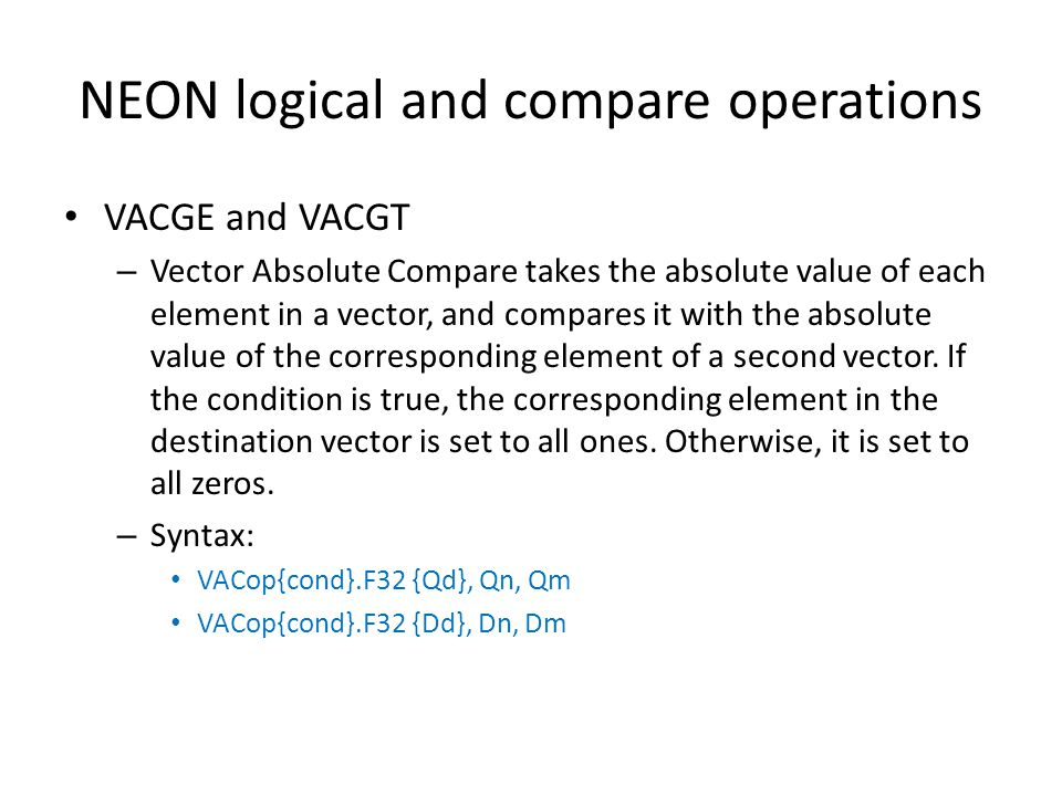 NEON logical and compare operations