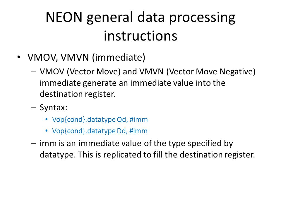 NEON general data processing instructions