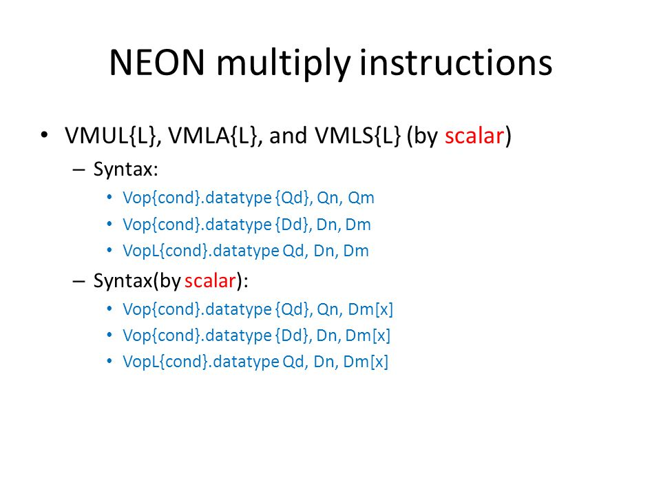 NEON multiply instructions