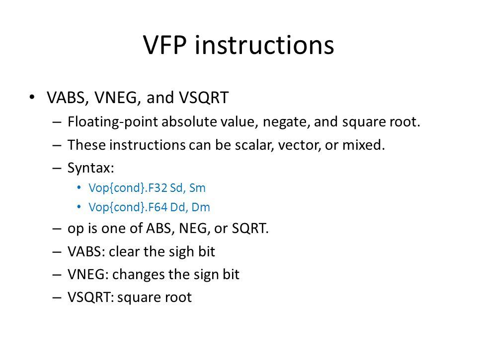 VFP instructions VABS, VNEG, and VSQRT