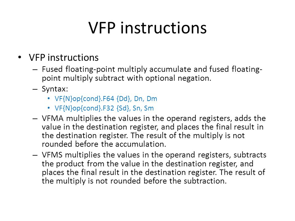 VFP instructions VFP instructions