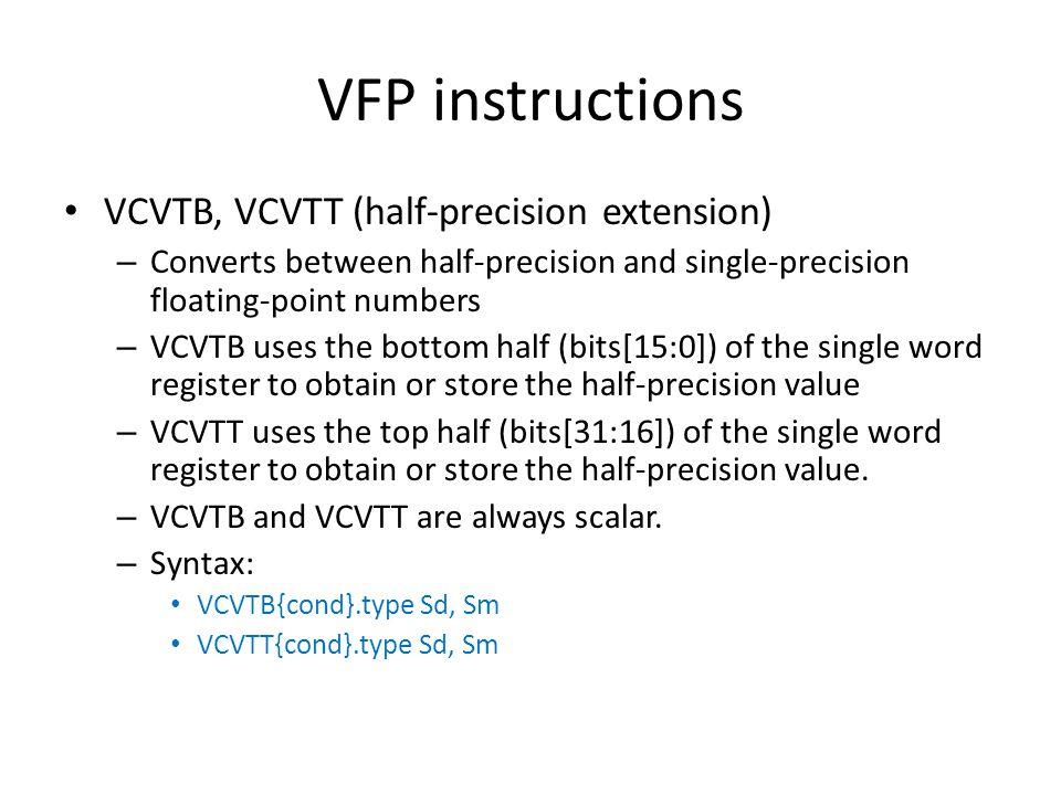 VFP instructions VCVTB, VCVTT (half-precision extension)