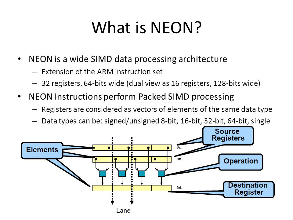 What is NEON NEON is a wide SIMD data processing architecture