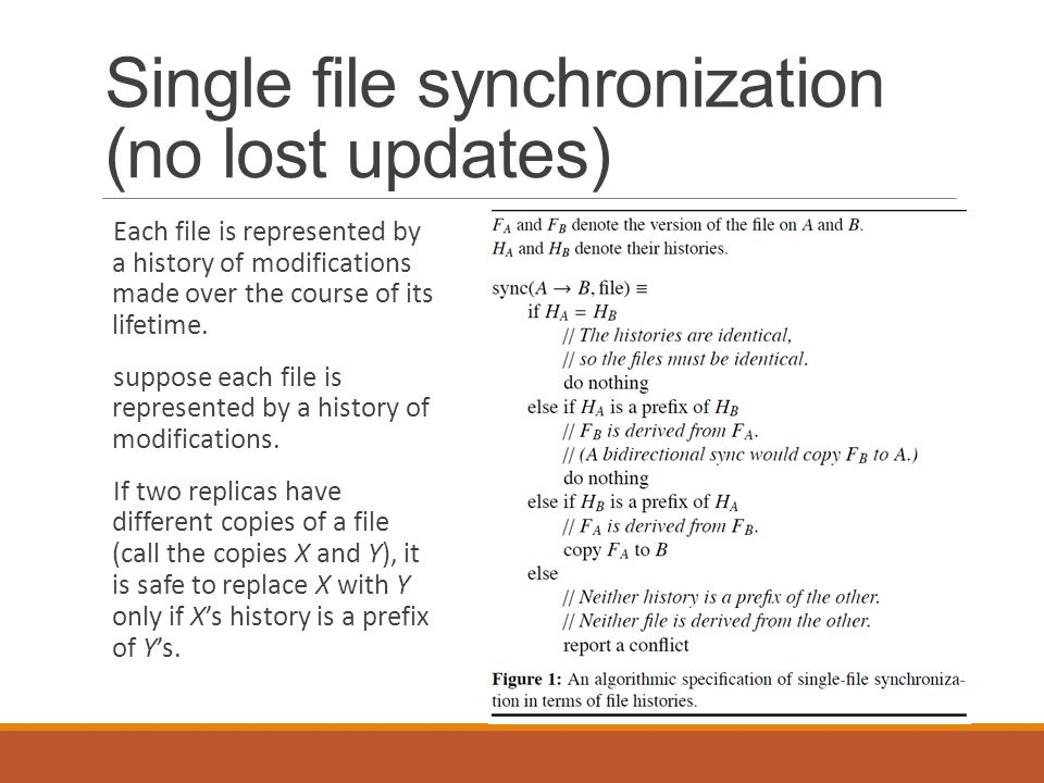 Single file synchronization (no lost updates)