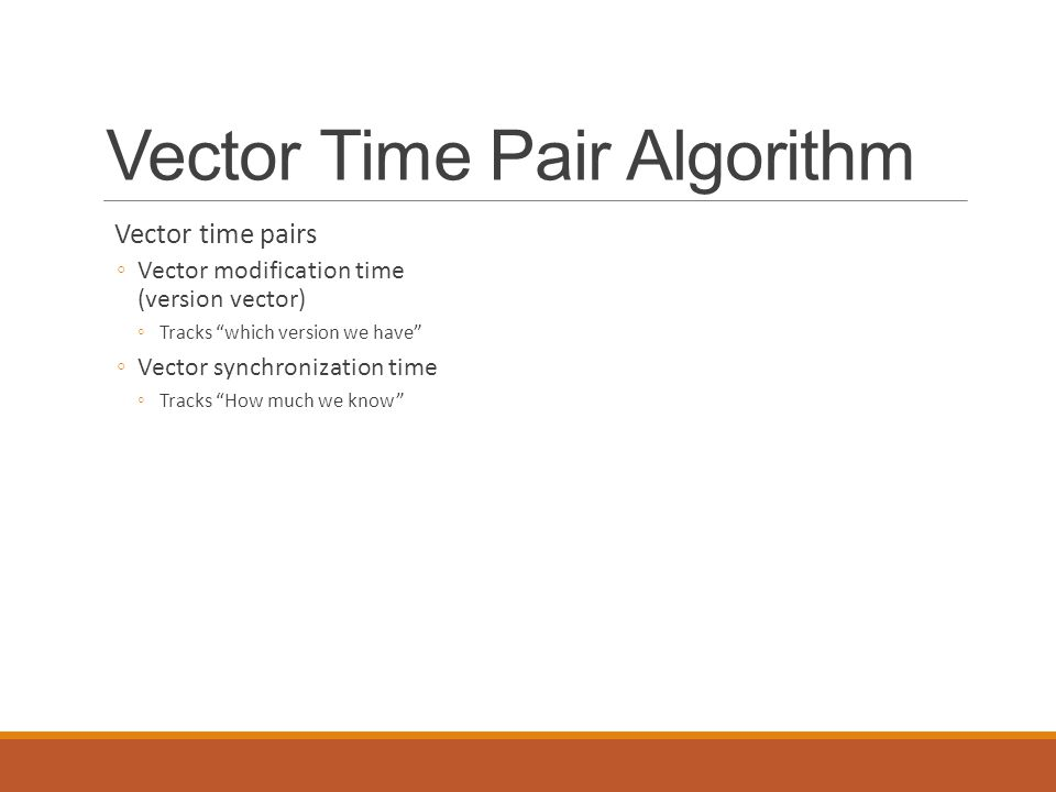 Vector Time Pair Algorithm