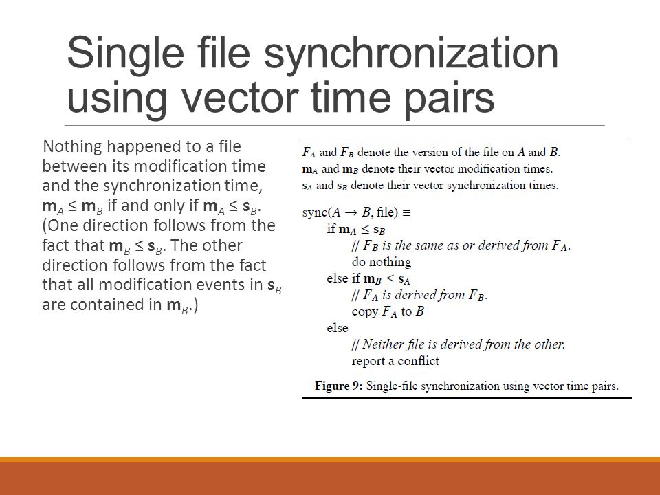 Single file synchronization using vector time pairs