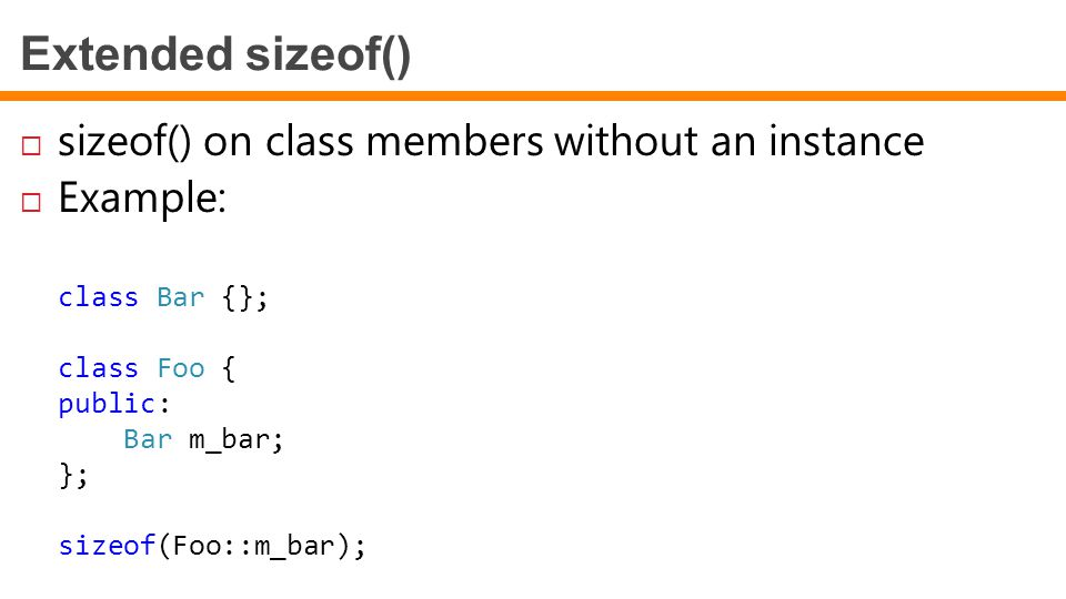 Extended sizeof() sizeof() on class members without an instance