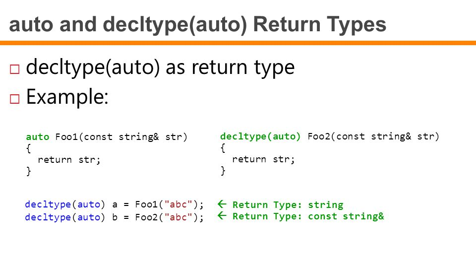 auto and decltype(auto) Return Types