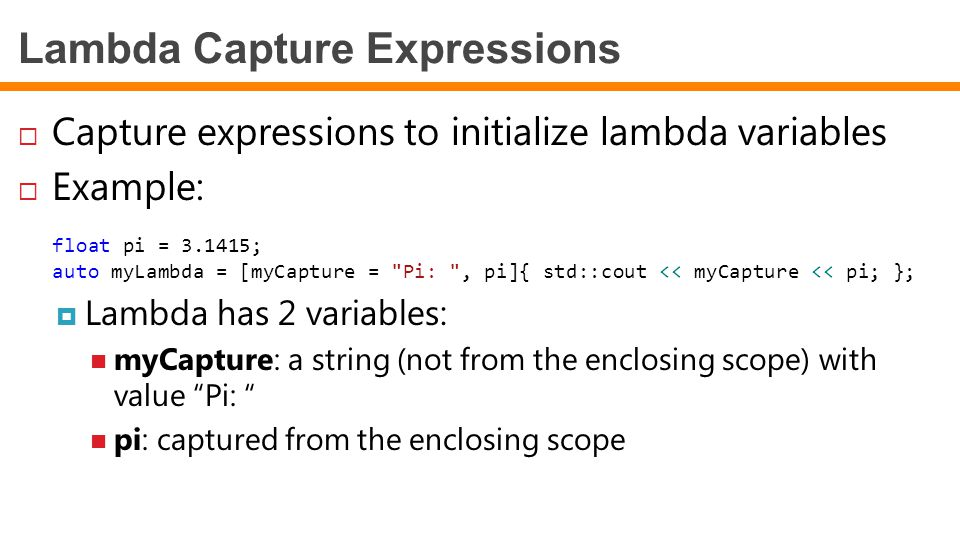 Lambda Capture Expressions