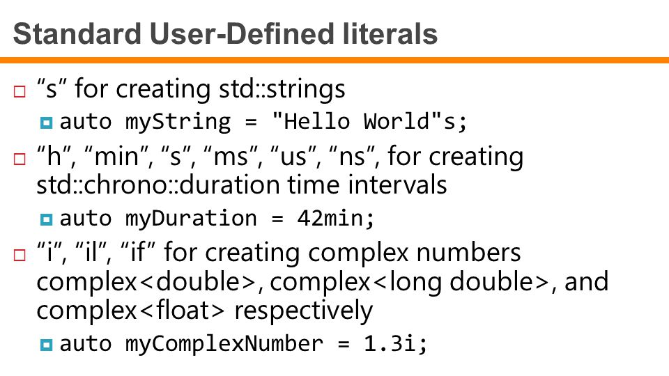 Standard User-Defined literals