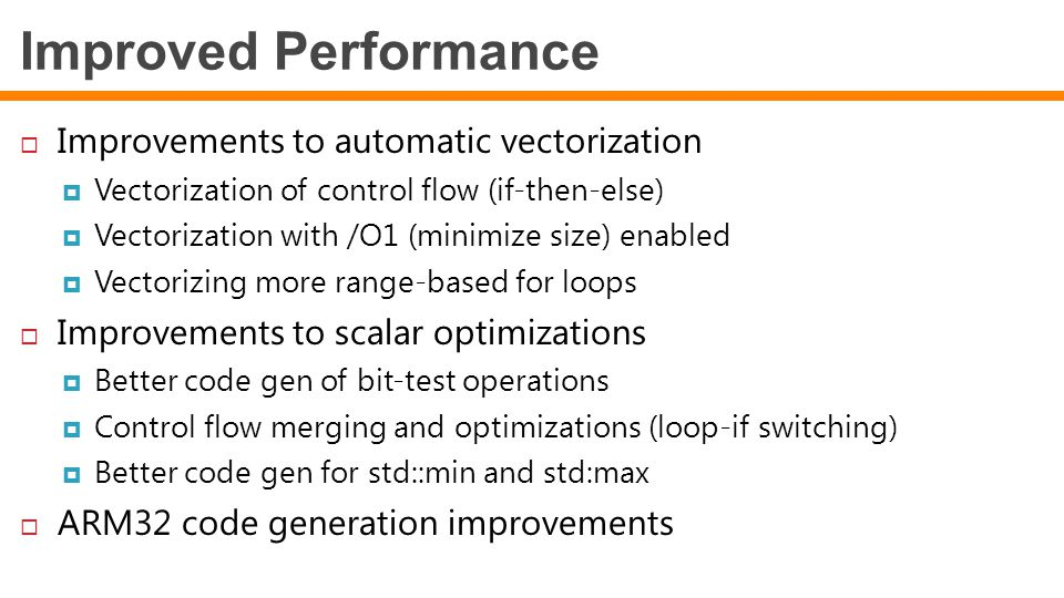 Improved Performance Improvements to automatic vectorization