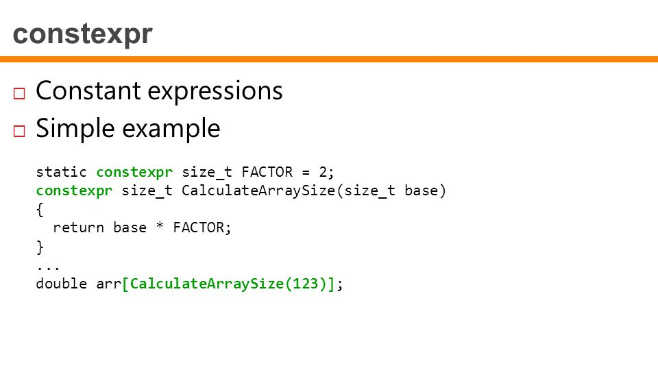 constexpr Constant expressions Simple example