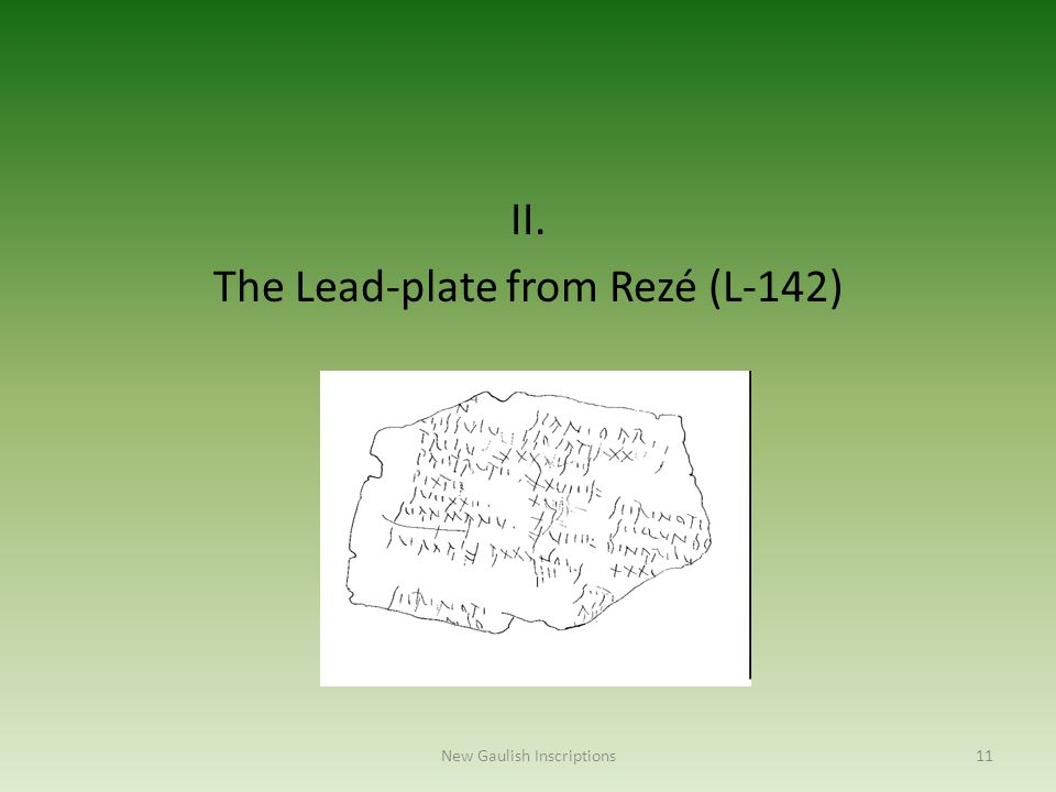 II. The Lead-plate from Rezé (L-142)