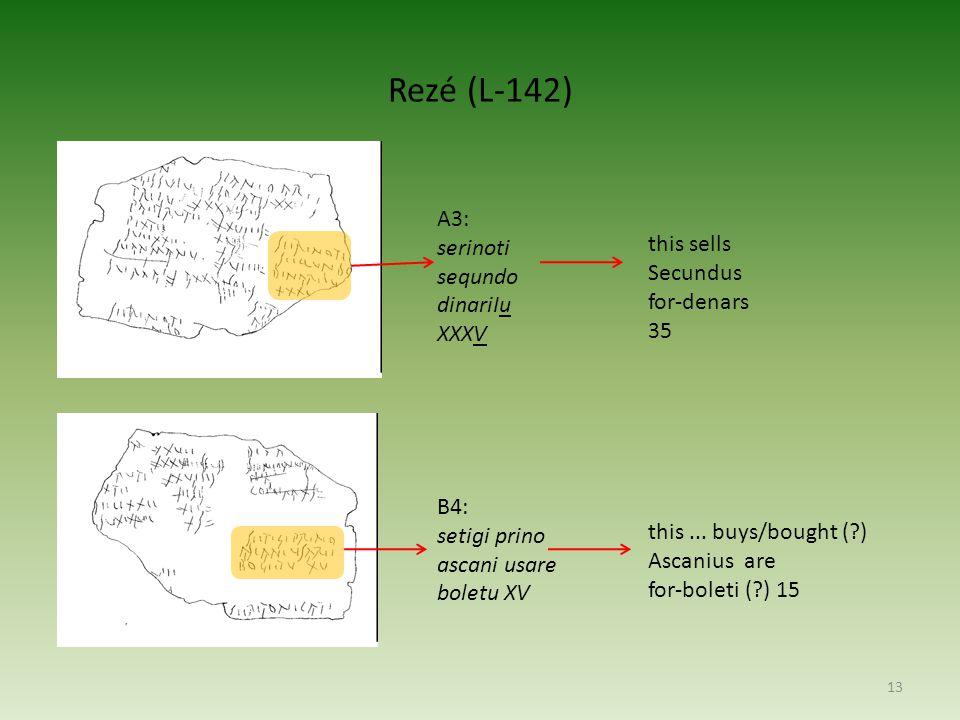 Rezé (L-142) A3: serinoti sequndo dinariIu this sells XXXV Secundus