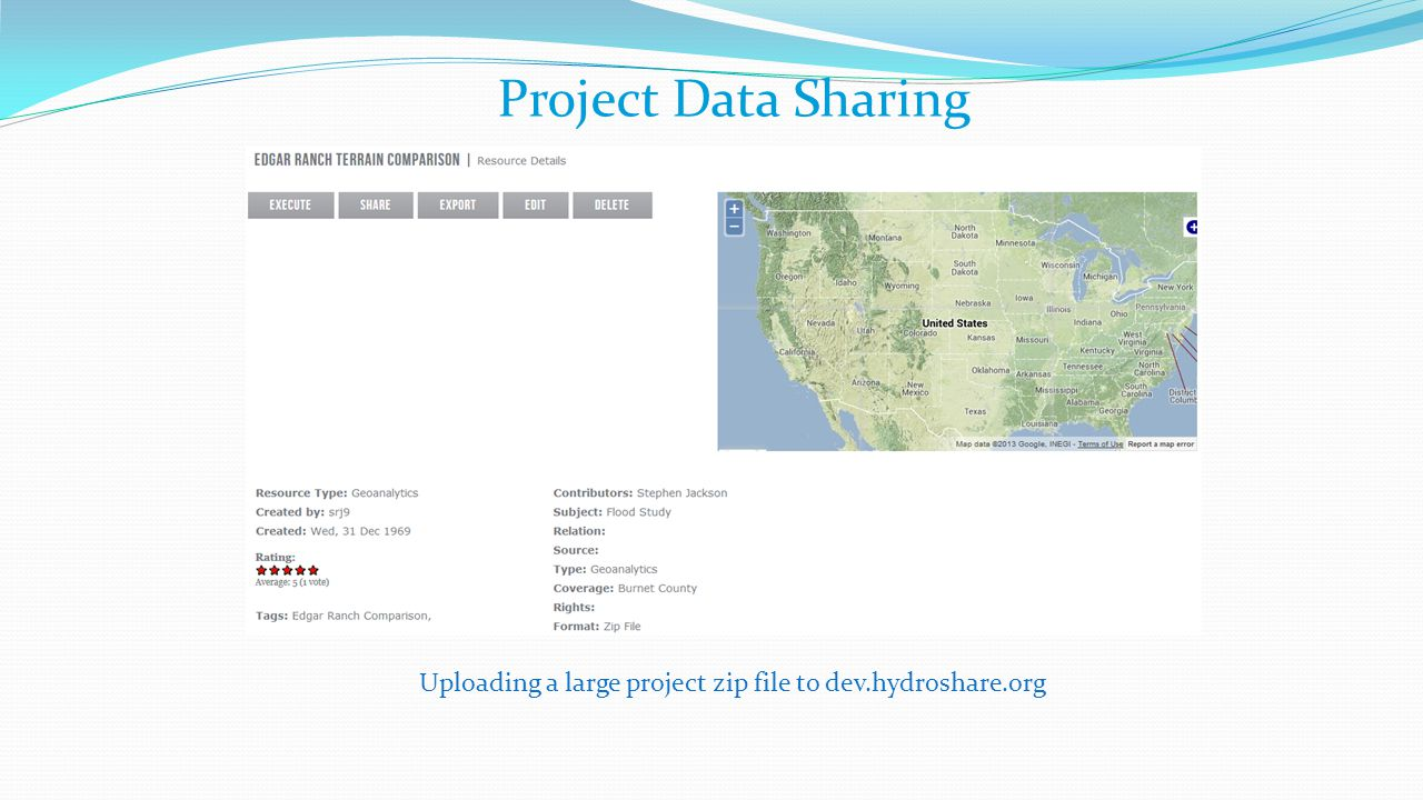 Project Data Sharing Uploading a large project zip file to dev.hydroshare.org