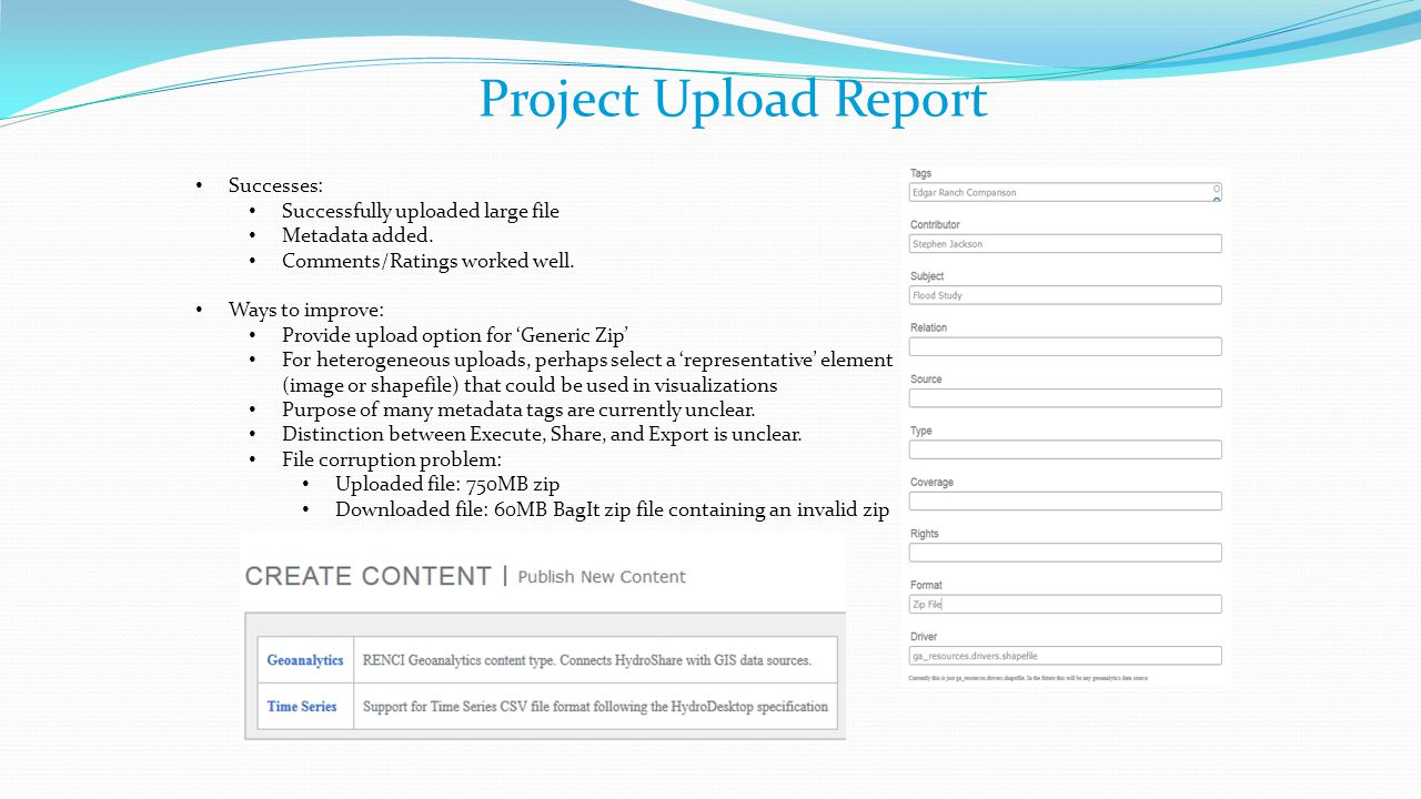 Project Upload Report Successes: Successfully uploaded large file