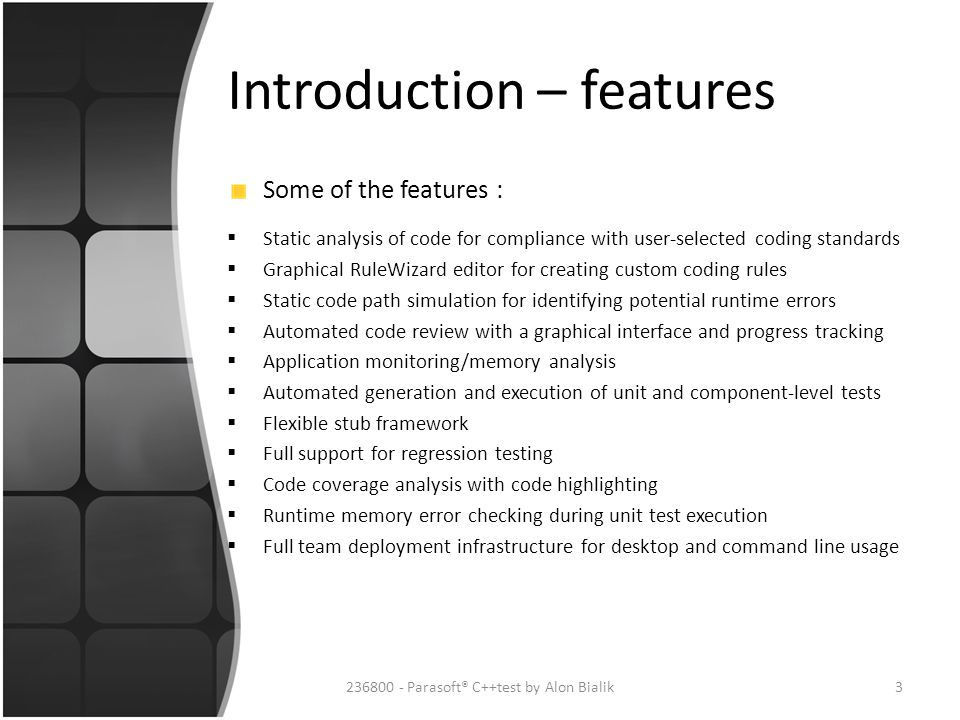 Introduction – features