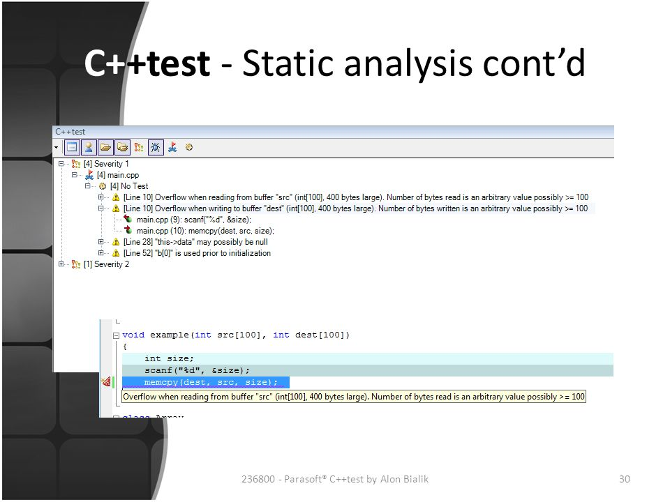 C++test - Static analysis cont'd