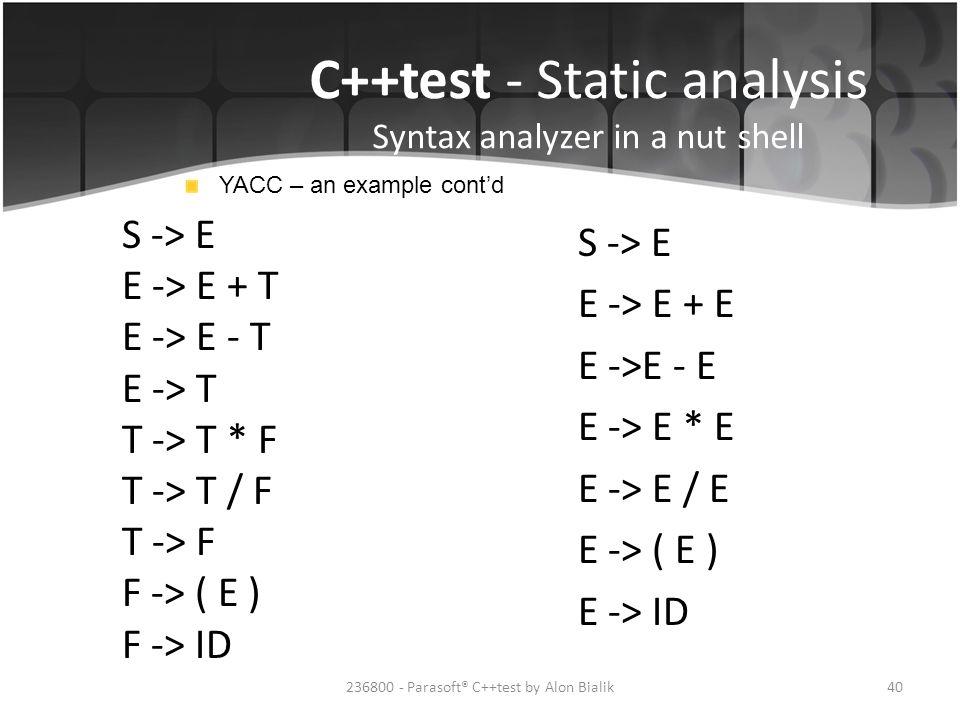 C++test - Static analysis Syntax analyzer in a nut shell
