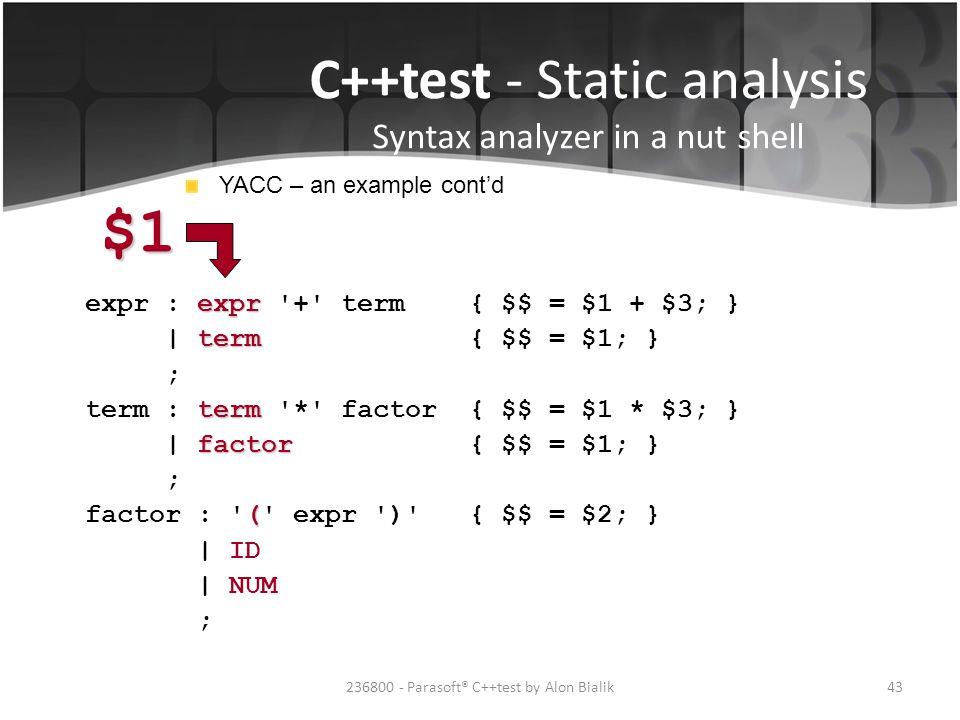 $1 C++test - Static analysis Syntax analyzer in a nut shell
