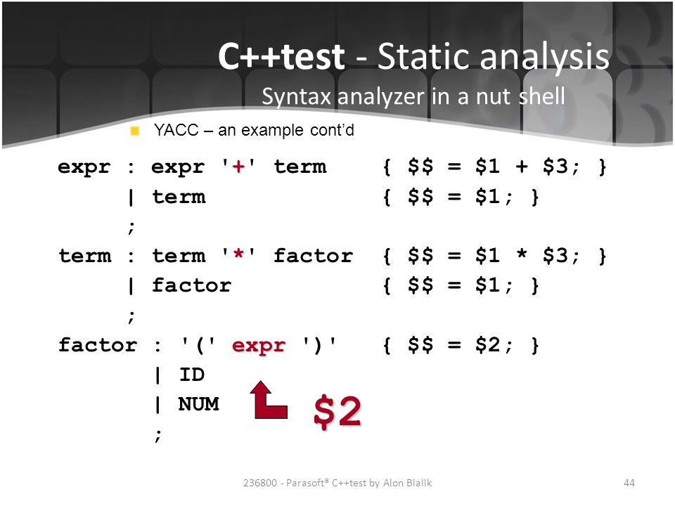 $2 C++test - Static analysis Syntax analyzer in a nut shell