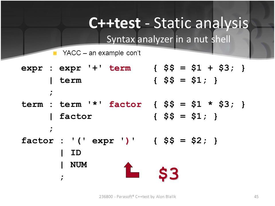 $3 C++test - Static analysis Syntax analyzer in a nut shell
