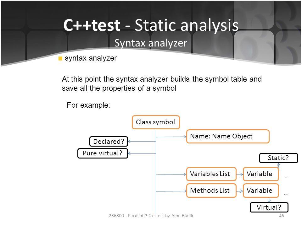 C++test - Static analysis Syntax analyzer