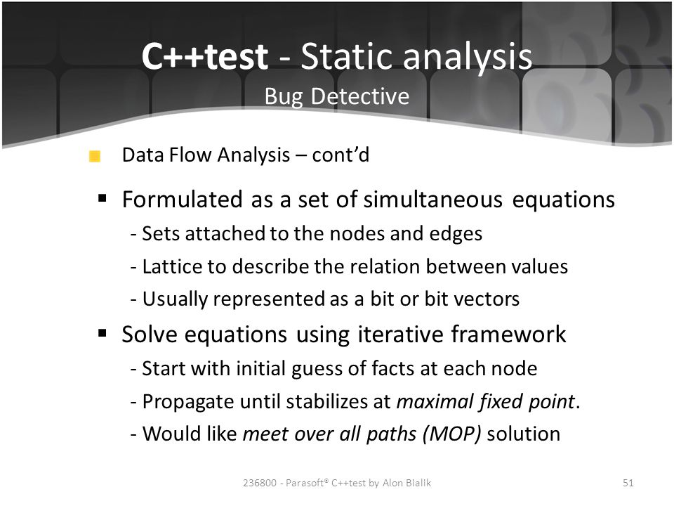 C++test - Static analysis Bug Detective