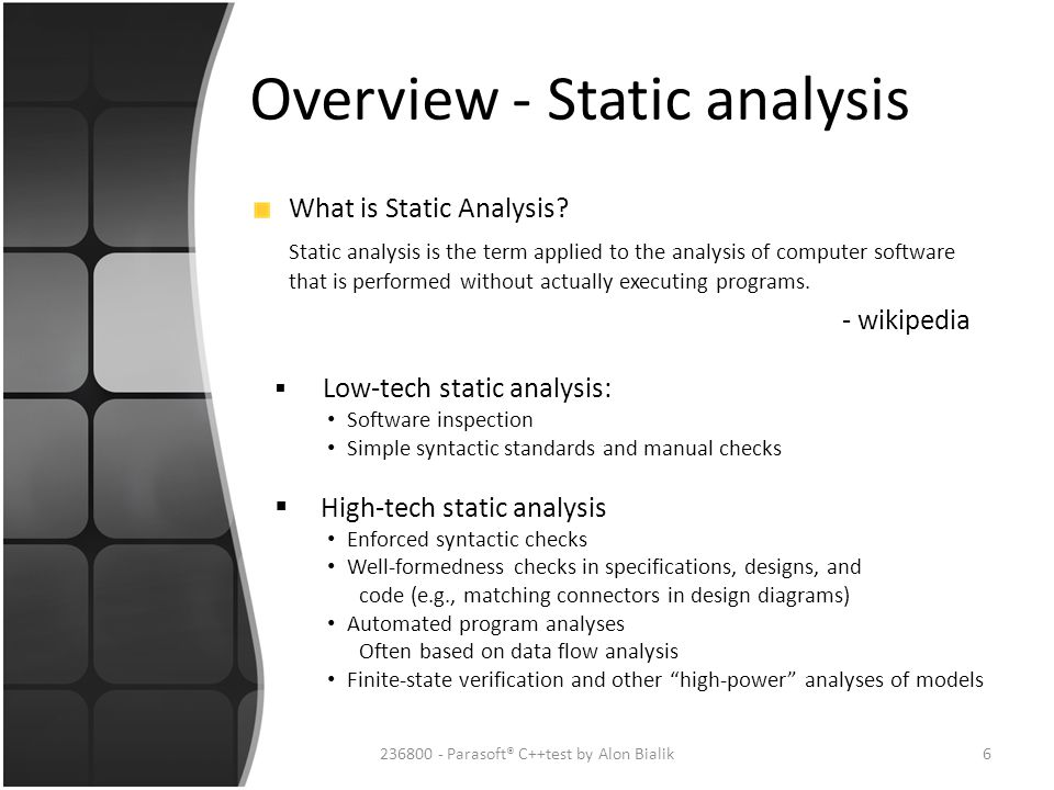 Overview - Static analysis