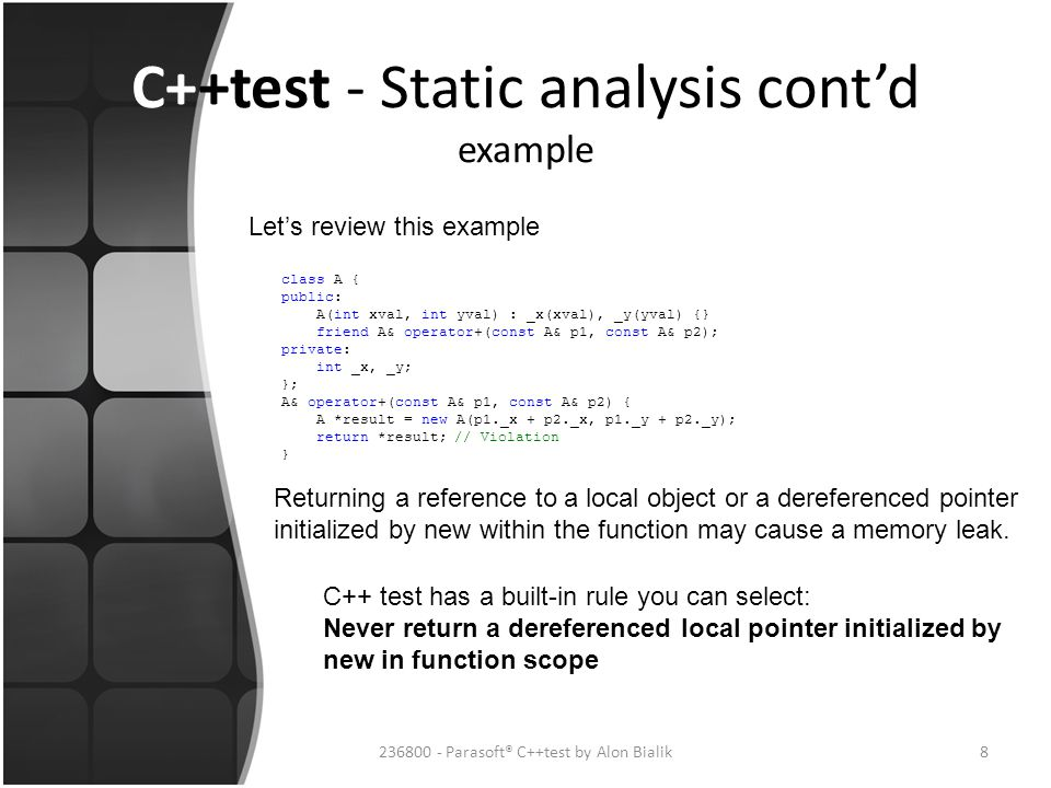 C++test - Static analysis cont'd example