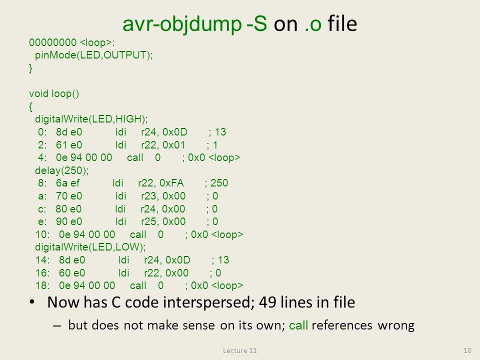 avr-objdump -S on .o file