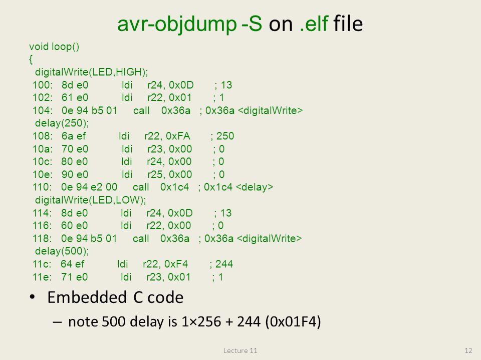 avr-objdump -S on .elf file