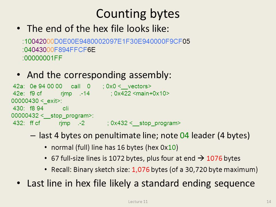 Counting bytes The end of the hex file looks like: