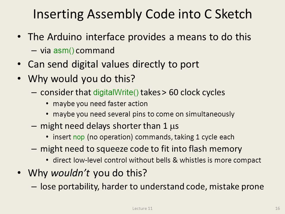 Inserting Assembly Code into C Sketch