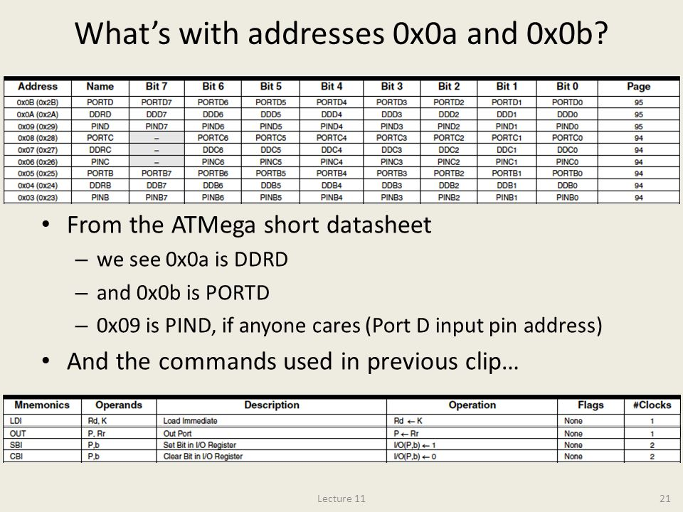 What's with addresses 0x0a and 0x0b