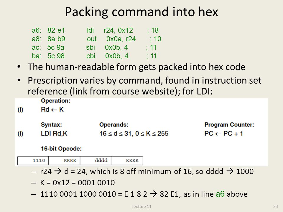 Packing command into hex
