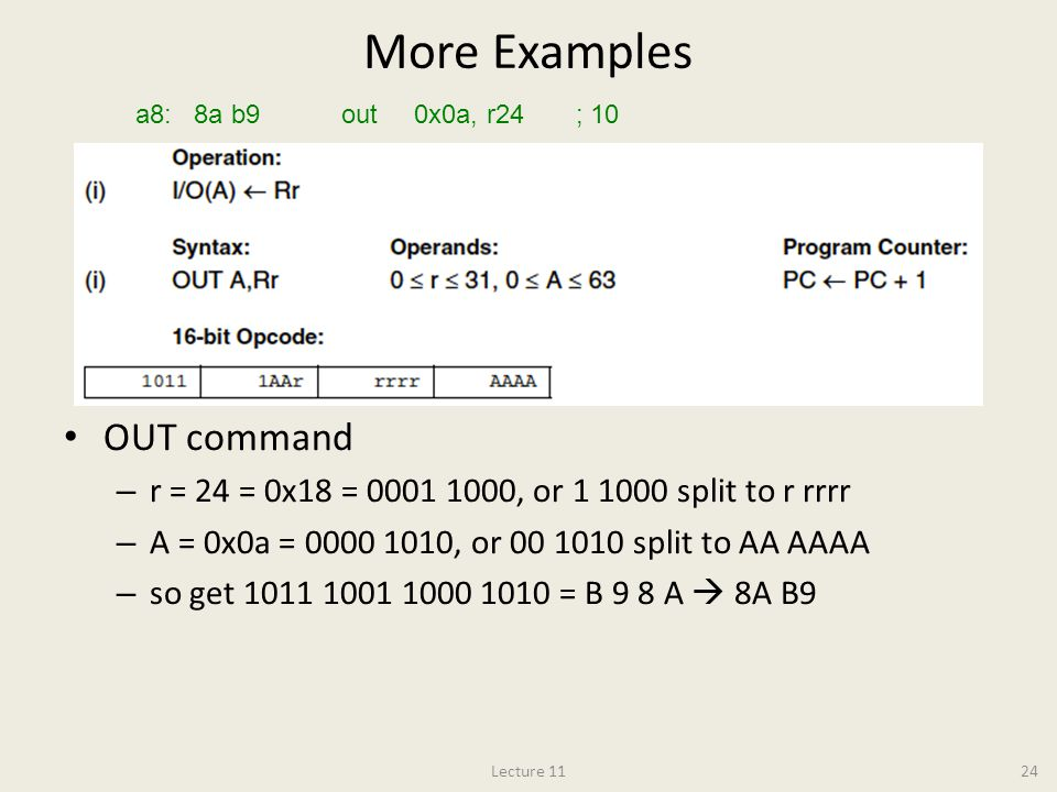 More Examples OUT command