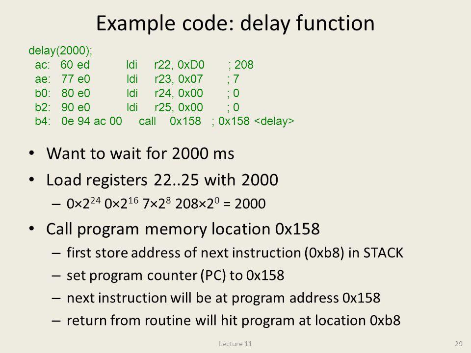 Example code: delay function