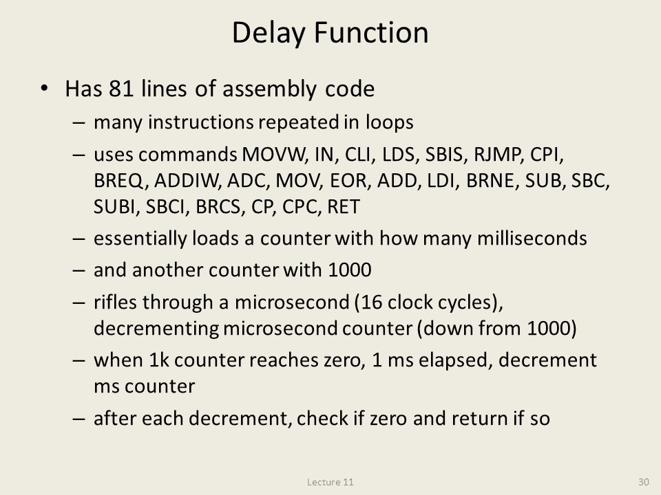 Delay Function Has 81 lines of assembly code