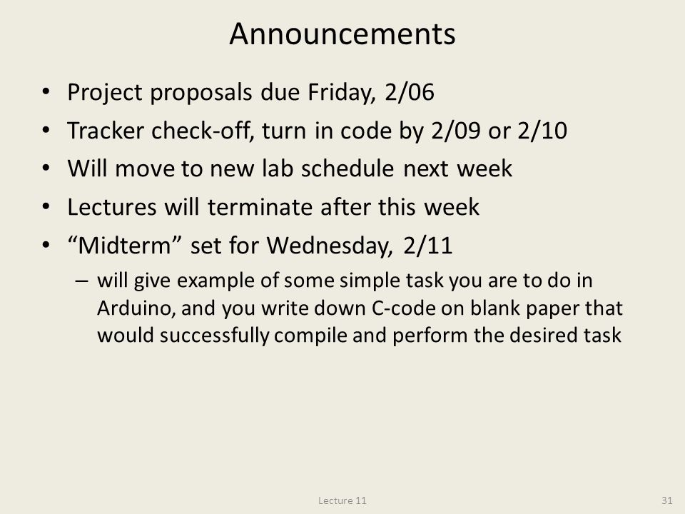 Announcements Project proposals due Friday, 2/06