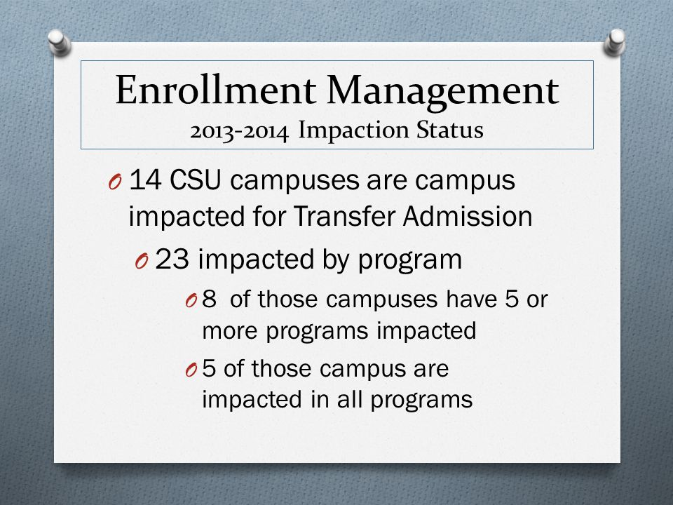 Enrollment Management 2013-2014 Impaction Status